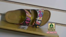 A colorful sandal on a shelf, Jigglin' George's, 685 Hwy 165