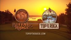 Sunset view of a golf course featuring logos of Buffalo Ridge and Top of the Rock