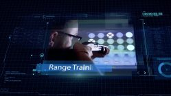 A high tech computer graphic featuring an images of a man target shooting with a shotgun